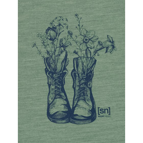 super.natural Blooming Boots Tee Women, sea spray melange/blue iris